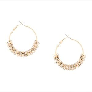 Gold and crystal ring hoop earrings
